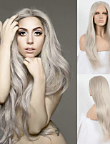 Long Grey Synthetic Lace Front Wig Celebrity Style Ladygaga's Wig Platinum Ash Grey Hair Natural Straight Heat Resistant Front Lace Wig