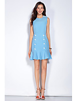 Mary Yan & Yu Going out Casual/Daily Sexy Cute Street chic Trumpet/Mermaid DressSolid Round Neck Above Knee Sleeveless Polyester Blue Spring SummerMid