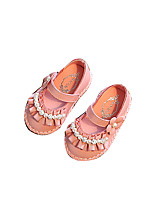 Baby Flats Spring Fall Comfort Flower Girl Shoes Leatherette Outdoor Casual Low Heel Magic Tape Beige Pink Walking