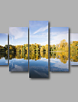 Stretched Canvas Print Four Panels Canvas Wall Decor Home Decoration Abstract Modern Lake Mountain