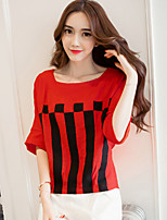 Going out Casual/Daily Holiday Simple Cute T-shirt,Striped Round Neck ½ Length Sleeve Red White Polyester