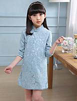 Girl's Solid Floral Dress,Cotton Polyester Spring Fall Long Sleeve
