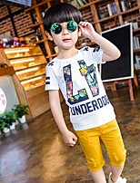 Мальчики Наборы На выход На каждый день Нарядная Хлопок С принтом Лето С короткими рукавами Набор одежды