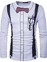 Tee-shirt Homme,Imprimé Couleur Pleine Décontracté / Quotidien simple Printemps Eté Manches Longues Col Arrondi Blanc Coton Moyen