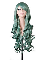 Fashion  80cm Long Green Wavy Curly High Quality Synthetic Harajuku Women Party Lolita Cosplay Wig