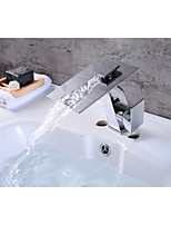 Contemporary Centerset Waterfall with  Ceramic Valve Single Handle One Hole for  Chrome , Bathroom Sink Faucet
