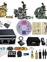 Kit de Tatuagem Completo 3 x máquina de tatuagem liga para o forro e sombreamento 3 máquinas de tatuagem Fonte de Alimentação LEDTintas