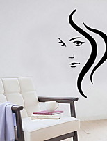 Cartoon Long Hair Girl Wall Sticker Vinyl Material Home Decoration