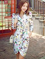 Для женщин На выход На каждый день Праздник Весна осень Тренч Рубашечный воротник,Винтаж Богемный ИзысканныйКонтрастных цветов Цветочный