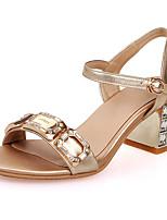 Sandalen-Hochzeit Party & Festivität Kleid-Leder-Blockabsatz Kristallabsatz-Club-Schuhe-Gelb Gold