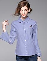 Chemise Femme,Rayé Décontracté / Quotidien Travail simple Printemps Eté Manches Longues Col de Chemise Bleu Coton