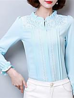 Для женщин На каждый день Нарядная Офис Весна Лето Рубашка Воротник-стойка,Уличный стиль Однотонный Длинный рукав,Полиэстер,Средняя