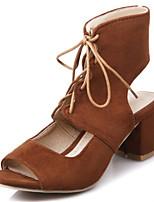 Femme-Habillé Décontracté-Noir Gris Jaune Rouge-Gros Talon Block Heel-Nouveauté club de Chaussures-Sandales-Laine synthétique