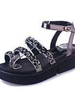 Черный СеребряныйДля праздника Повседневный-Полиуретан-На плоской подошве На толстом каблуке-Удобная обувь-Сандалии