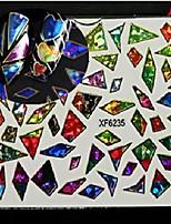 1pcs Nail Art XF Series Laser Glitter Sticker DIY Cute Heart Shape Geometric Image Water Transfer Decals Nail Art Design XF6231-6238