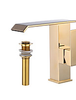 Bathroom Sink Faucet/Ti-PVD BronzeBrass Single Handle Centerset Faucet