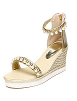 Sandalen-Büro Kleid Lässig-maßgeschneiderte Werkstoffe Kunstleder-Keilabsatz-Komfort Neuheit Club-Schuhe-Weiß Silber Gold