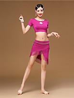 Dança do Ventre Roupa Feminino Menina Treino Modal Borla(s) 2 Peças Manga Curta Caído Saia Topo 35:36
