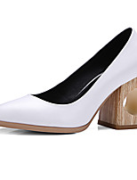 Heels Spring Summer Fall Winter Club Shoes Cowhide Office & Career Party & Evening Dress Chunky Heel Others Black White