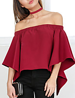 Women's Going out Casual/Daily Sexy Simple Spring Fall T-shirt,Solid Boat Neck ¾ Sleeve Polyester Medium