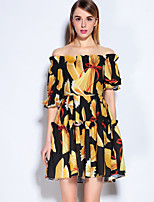 MARY YAN&YU Women's Going out Cute Swing DressFloral Embroidered Boat Neck Knee-length Short Sleeve Yellow Polyester Spandex Spring Summer Mid Rise