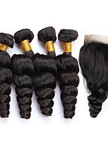 One Pack Solution Cheveux Péruviens Ondulation Lâche 12 mois 5 Pièces tissages de cheveux