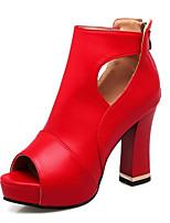 Черный Красный БелыйСвадьба Для праздника Повседневный-Материал на заказ клиента Дерматин-На толстом каблуке-Удобная обувь Оригинальная