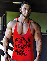 Men's Casual/Daily Beach Sports Simple Active All Seasons Tank Top,Print Deep U Sleeveless Blue Red Gray Yellow Cotton Thin