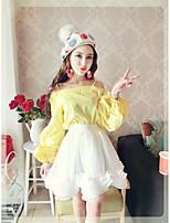 Sign Nett 2017 new Korean fashion leakage shoulder harness collar princess sleeve shirt