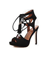 Heels Spring Summer Fall Comfort Leatherette Office & Career Party & Evening Dress Stiletto Heel Lace-up Black