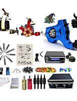Complete Tattoo Kit 3  Machines RD With LED Dual Digital Power Supply  liner & shader