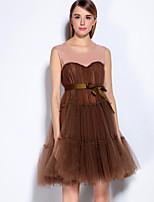 Для женщин Нарядная Очаровательный А-силуэт Платье Однотонный,Круглый вырез Выше колена Без рукавов Красный Черный Коричневый Серый