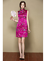 I-YECHO Women's Going out Party/Cocktail Sexy Cute A Line DressFloral Stand Above Knee Sleeveless Purple Silk Spring Summer Mid Rise Inelastic