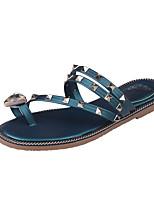 Sandals Summer Comfort PU Casual Flat Heel Rhinestone Crystal Black Green Gray Gold