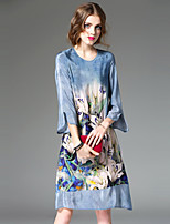 REVIENNE BAY Women's Casual/Daily Simple Loose DressFloral Round Neck Midi  Sleeve Blue Others Spring Summer Mid Rise Inelastic Thin