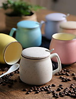 1pcs Minimalism Drinkware 360 ml Boyfriend Gift Girlfriend Gift Ceramic Coffee Milk Coffee Mug With Spoon Cover Random Color