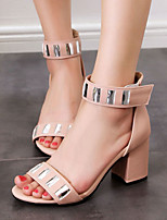 Sandals Spring Summer Fall Club Shoes Fleece Party & Evening Dress Casual Chunky Heel Rhinestone Black Pink White Burgundy