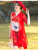 YENMEINAR Women's Going out Casual/Daily Formal Simple A Line Dress,Floral Beaded Round Neck Knee-length 陆 Length Sleeve Silk Red Spring SummerMid