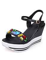 Sandals Spring Summer Fall Club Shoes Cowhide Office & Career Party & Evening Dress Wedge Heel Rhinestone Buckle Black