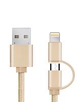 USB 2.0 Tout-en-un Tressé Câble Pour Apple iPhone iPad Samsung Sony HTC Lenovo Xiaomi 98 cm Nylon Aluminium