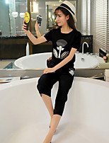 Real fashion shoot short sleeve T-shirt sweater blouses + Leisure seven wide leg pants piece fitted