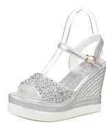 Sandals Spring Summer Fall Comfort PU Dress Casual Wedge Heel Rhinestone Gold Sliver