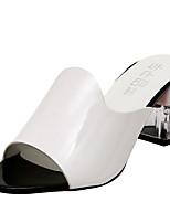 Women's Heels Spring Comfort PU Outdoor Chunky Heel Block Heel White Black