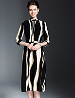 OYCP Women's Casual/Daily Simple Sheath DressStriped Stand Midi  Sleeve Polyester Spring Summer Mid Rise Inelastic Medium
