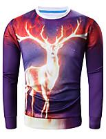Sweatshirt Hommes Grandes Tailles Décontracté / Quotidien simple Couleur Pleine Imprimé Col Arrondi Micro-élastique Coton Manches Longues