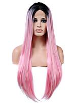 cabelo da fibra de raiz preta cor-de-rosa rendas frente perucas sintéticas longo cabelo calor reta resistente a mulher da forma