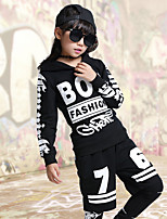 Jazz Outfits For Boys/Girls Kid's Children's Performance Polyester Print Sequins 3 Pieces Long Sleeve Top Pants Shorts Black