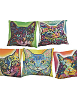 Set of 5 Creative color cat pattern  Linen Pillowcase Sofa Home Decor Cushion Cover (18*18inch)