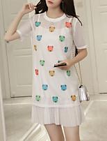 Tee Shirt Robe Femme Décontracté / Quotidien Grandes Tailles Mignon,Broderie Col Arrondi Au dessus du genou Manches Courtes Coton Nylon