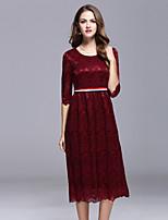 Для женщин На выход На каждый день Простое А-силуэт Платье Однотонный Вышивка,Круглый вырез Средней длины Рукав ½ Красный Зеленый